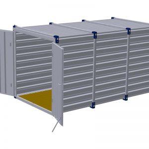 Materiaalcontainer dubbele deuren korte zijde – 4mtr