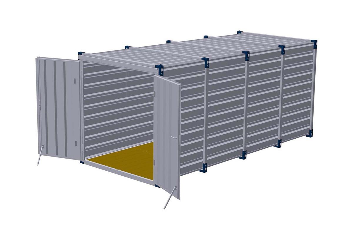 Materiaalcontainer dubbele deuren korte zijde – 5mtr