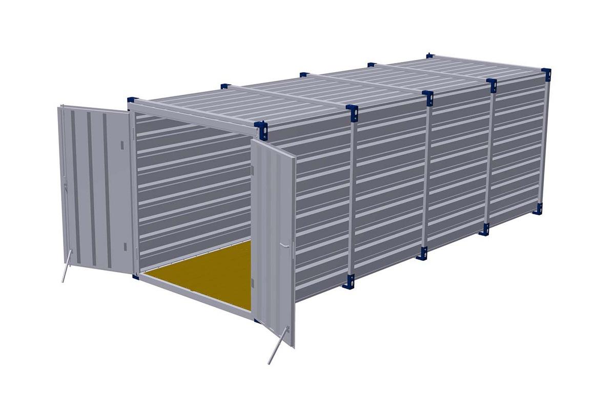 Materiaalcontainer dubbele deuren korte zijde – 6mtr