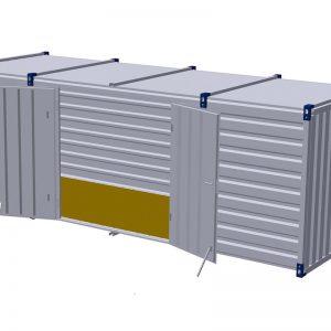 Materiaalcontainer dubbele deuren lange zijde – 6mtr